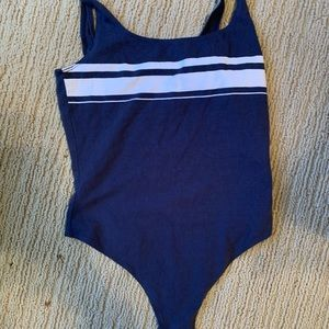 blue and white stripped bodysuit